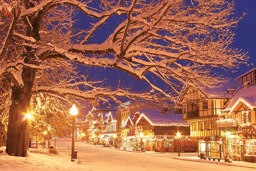 Blanketed in snow and lights, Leavenworth is a veritable winter wonderland. Photo: Leavenworth Chamber of Commerce
