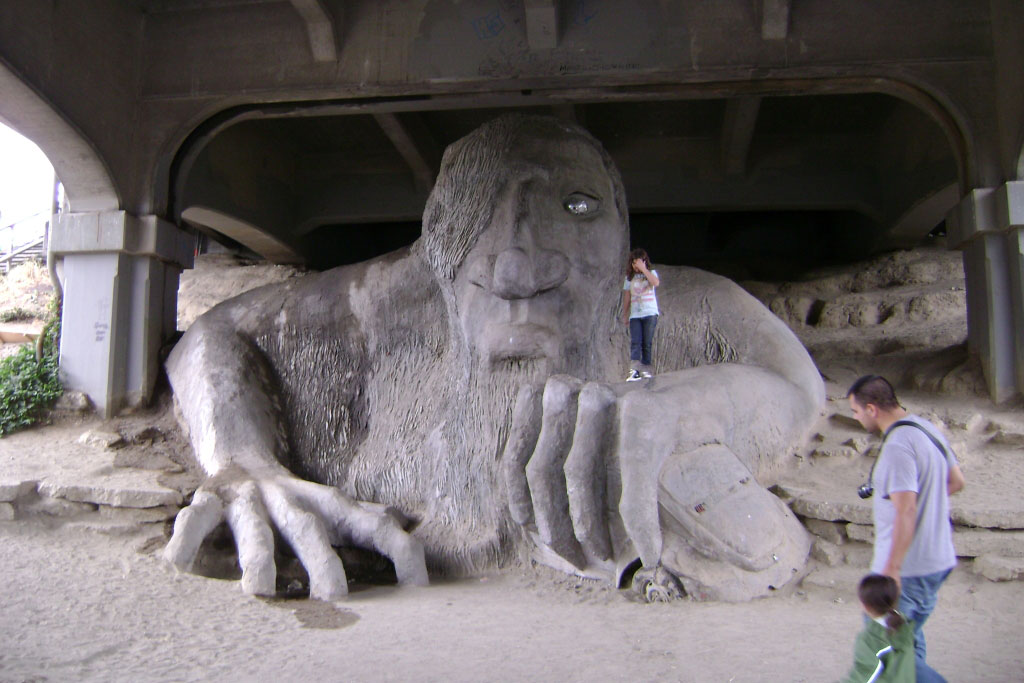 Inspired by the folk tale Billy Goats Gruff, the massive Fremont Troll hold court under the Fremont Bridge. Credit: Alex C Chang