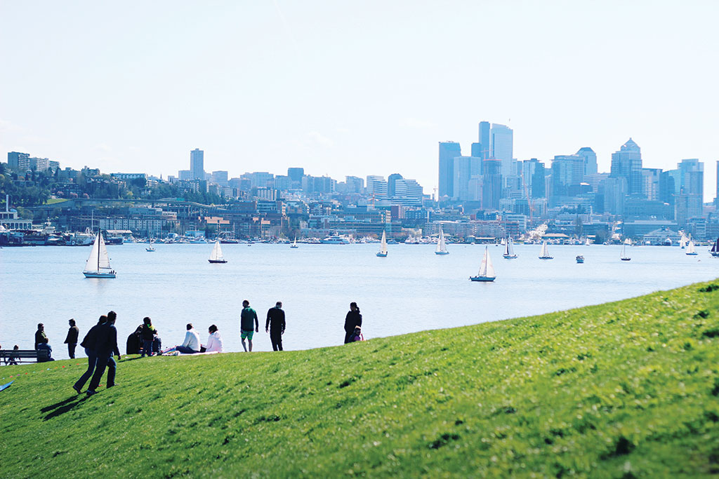 The site of of the former Seattle Gas Light Company, the historic Gasworks Park offers stunning views back on the city of Seattle.