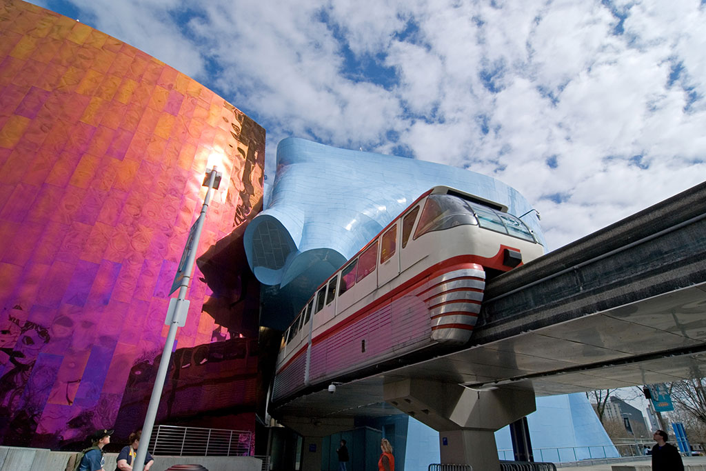 Cruise through the colorful Museum of Pop Culture, which is said to resemble a smashed guitar from above, on the Seattle Monorail.